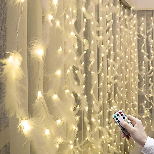 LACKINGONE 10x10ft Curtain Feather String Lights, USB Plug and Battery Box Duel use Fairy Lights, 300 LED Bulbs and 300 Feathers, Wedding Party Home Window Decoration