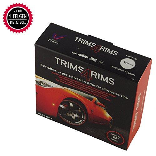 Trims4rims Felgenringe Felgenrandaufkleber Felgenschutz Styling Felgenschutzringe universal bis 22 Zoll (Weiß)