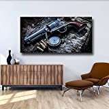 Revolver Weapon Gun Pocket Watch Canvas Painting HD Prints Gun Pistol Posters Wall Art Prints Picture for Boy Teen Bedroom Decor 60x120 CM (sin marco)
