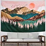 Sevenstars Mountain Tapestry Forest Tree Tapestry Sunset Tapestry Nature Landscape Tapestry Wall Hanging for Room(70.9 × 92.5 inches)