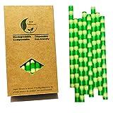 Cannucce di carta per frullati e milkshakes, extra larghe da 10mm, fantasia bambù, 32 pezzi