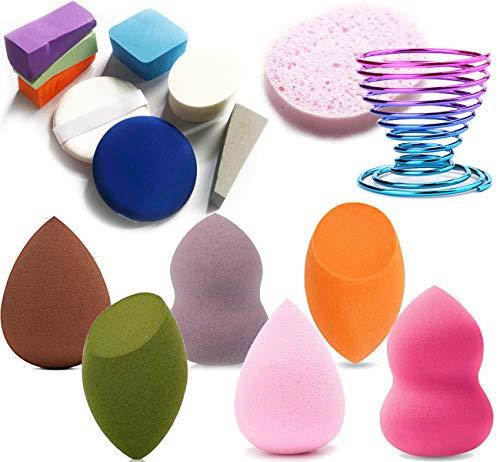 Make Up Schwamm, 16 Stück Makeup Schwämme Sponges Mischset, 15 Schwämmchen und 1 Schwammhalter für BB-Creme und Sonnencreme (Stil 2)