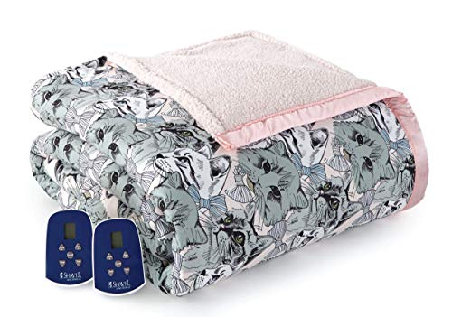 Thermee Micro Flannel Electric Blanket with Sherpa, Cat Medley, King
