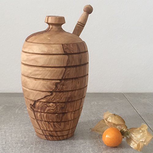 Honey Pot with Dipper/Honey Jar, handcrafted from natural olive wood