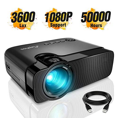 ELEPHAS Mini Projector, Full HD 1080P and 180' Display, 4000 Lux Portable Home Theater Projector with 50,000 Hours LED Lamp Life, Compatible with USB/HD/SD/AV/VGA Interfaces