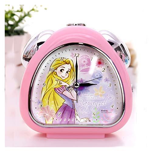 yywl Reloj Despertador Alarma de la música Despertador Creativo de Dibujos Animados Reloj Despertador Lindo de los niños Aguja de plástico una Sola Cara (Color : Dark Pink Rapunzel)