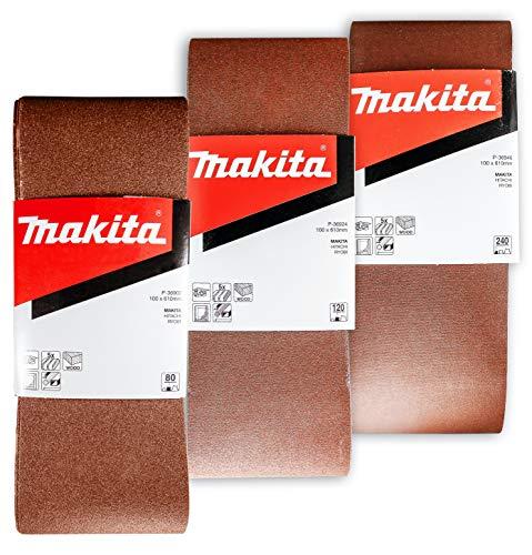 Makita 15 Piece - 4' Multi-Grit Sanding Belt Set For 4' Belt Sanders – Complete Sanding Set For Wood & Metal - 80-240 Grits