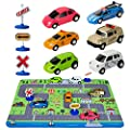 """Car Toys with Play Mat, 6 Toy Cars, 3 Road Signs, 14"""" x 18"""" City Playmat, City Vehicle Set, Mini Pull Back Vehicle Toys for 3 4 5 Year Old Boys Toddlers by CHICKEN TOYS"""