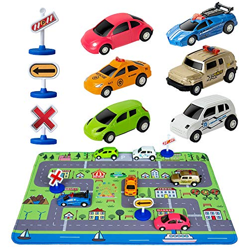 """Car Toys with Play Mat, 6 Toy Cars, 3 Road Signs, 14"""" x 18"""" City Playmat, City Vehicle Set, Mini Pull Back Vehicle Toys for 2 3 4 5 Year Old Boys Toddlers"""