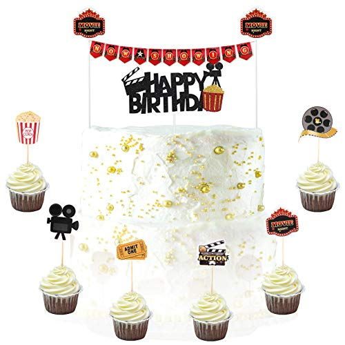 Zonon 32 Pieces Movie Theme Cake Decorations Birthday Cake Topper Movie Night Party Cupcake Topper Now Showing Banner for Hollywood Party Movie Night Birthday Party