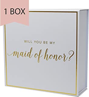 Maid of Honor Proposal Box with Gold Foiled Text | Set of 1 Empty Box | Perfect for Will You Be My MOH Gift and Wedding Present
