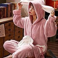 フランネルフード付きパジャマセット女性漫画2パジャマ冬の暖かいシャツとパンツコーラルフリースパジャマセットフリルパジャマ