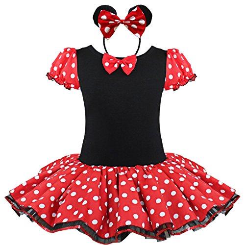 IEFIEL Souris de Déguisement Enfant Fille Robe + Serré-tête Halloween Costumée Soirée (7-8 Ans, Rouge)