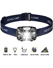 SOONHUA Led-zaklamp, touch-zaklamp, 300 lumen, USB-aansluiting, camping, outdoor, de beste hoofdlamp voor volwassenen en kinderen