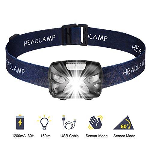 Ejoyous Wasserdichte LED-Stirnlampe, leistungsstark, wiederaufladbar über USB, mit Bewegungsmelder, 150 Lumen, 6 Leuchtmodi, Camping, Wandern, Angeln, Radfahren, Lesen