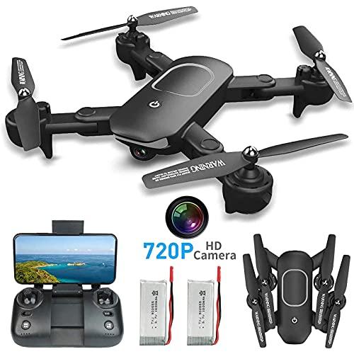 Drone con videocamera HD 720P per bambini e adulti, drone WiFi FPV per principianti-modalità di mantenimento dell'altitudine, decollo/atterraggio RTF con una chiave, controllo APP, con batterie da 2