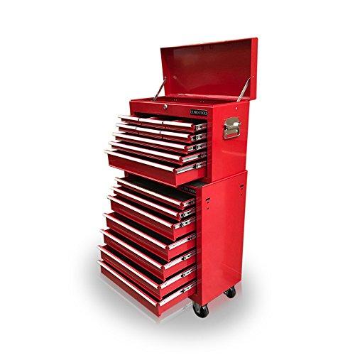 US Pro Werkzeug-Rollcontainer, 16 Schubladen, aus Stahl, rot