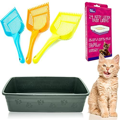 Kitty Cat Essentials Katzentoilette mit 24 Katzentoiletten und Katzentoiletten, sortiertes Bündel zur Entsorgung von Katzenstreu (Dorschgrau)