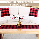 BETTERLINE Buffalo Check Plaid Set of Table Runner and 2 Throw Pillow Covers - Plaid Pattern Checkers - 72 Inch x 14 Inch Runner and 18 Inch x 18 Inch Pillow Cover Case