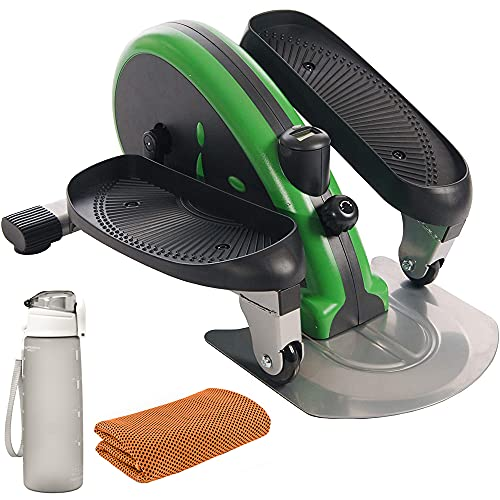 Stamina 55-1602 Inmotion Portable Elliptical Compact Trainer Green Bundle with Deco Essentials 32 oz Leakproof BPA Free Water Bottle and Workout Cooling Sport Towel