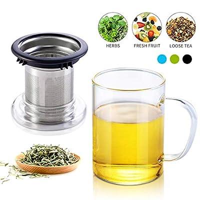 Tomotime Glass Mug with Loose Tea Infuser Small Glass Teapot, 13.5-Ounce Black