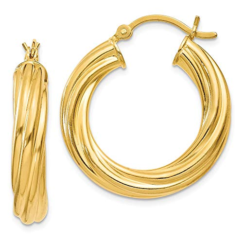 925 Sterling Silver Gold-flashed Wide Ribbed Twist 25mm Hoop Earrings (25x25mm) Gift for Women
