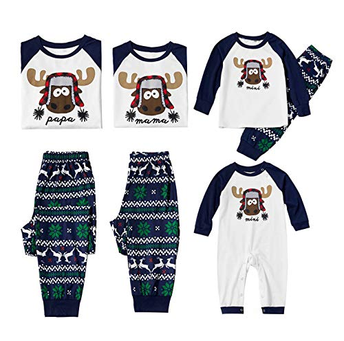 Family Christmas Pjs Matching Sets Women Men Reindeer Printed Christmas Matching Jammies for Adults Kids Baby Xmas Sleepwear (White&Blue, Baby/9-12 Months)