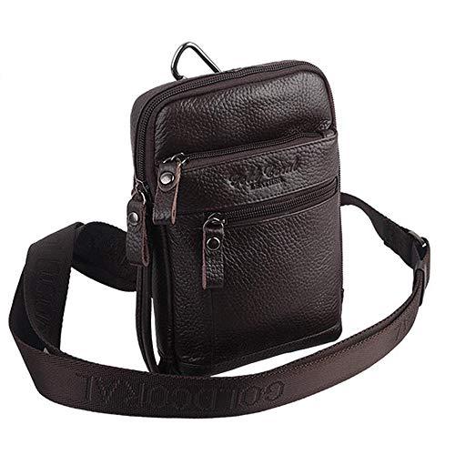 SHINING KIDS Herren Brusttasche Aus Echtem Leder Gürteltasche iPad Mini Handy Tasche Diagonal Paket,Brown