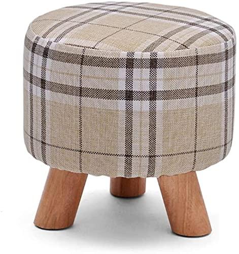HZYDD Taburete otomano pequeño para sofá, de madera maciza, con cambio de reposapiés bajo, taburete bonito y simple para la pesca en el dormitorio (color a cuadros) (color: rayas)