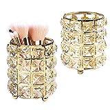 BUONDAC Lot de 2 Métal Cristal Maquillage Brosse de Rangement Porte-balais Etui à Pinceau à Crayon Seau de...