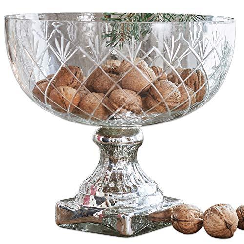 Loberon schaal Iesha, glas, H/Ø ca. 21/24 cm, helder/antiek zilver