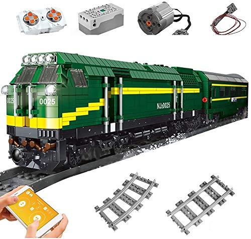 SICI Tren de tren con control remoto, locomotora con riel y juego de iluminación, tren de mercancías City 2086 piezas, modelo compatible con la técnica Lego
