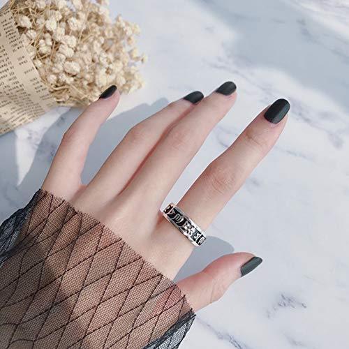 DLIAAN Ringen Opening Verstelbare Ring Thais Zilver Wijde Vingerpunt Ring Vrouwelijke Retro Trend Zes Zonen Overdreven Punk Paar Ringen Sieraden