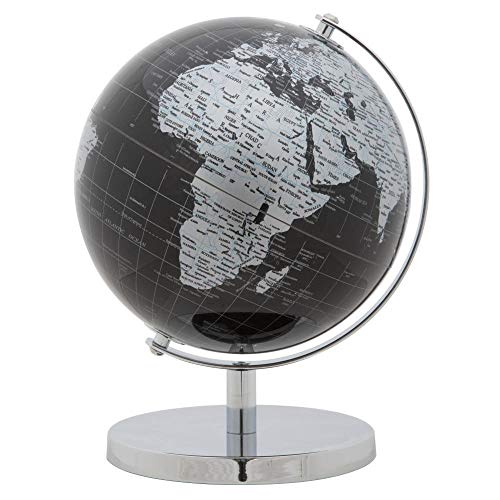 HomeZone Black and Silver Rotating Globe - World Map Global Atlas - Geography Learning Tools - Decorative Home Accessories (Black)
