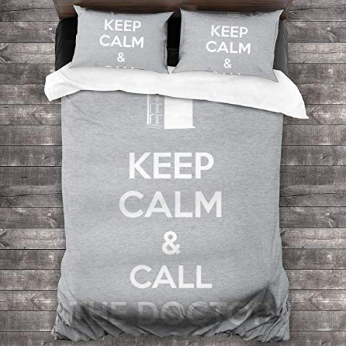 KUKHKU Keep Calm And Call The Doctor Who 3 Pieces Bedding Set Duvet Cover 86'x70', Decorative 3 Piece Bedding Set With 2 Pillow Shams