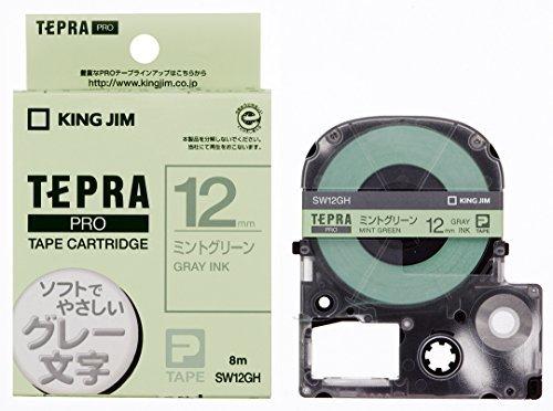 キングジム PROテープ ミントグリーン/グレー文字 SW12GH 00963148【まとめ買い3個セット】