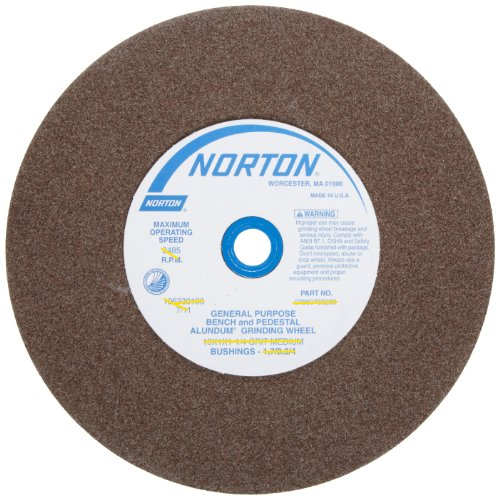 Norton Bench and Pedestal Abrasive Wheel, Type 01 Straight, Aluminum Oxide, 1' Arbor, 8' Diameter, 1' Thickness, Coarse Grit (Pack of 1)