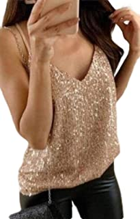 CRYYU Womens Solid V Neck Spaghetti Strap Summer Sequins Tank Tops T-Shirt Blouse