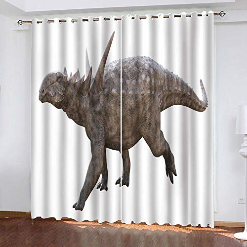 DRFQSK Vorhang Blickdicht Vorhänge Kinderzimmer Schlafzimmer Wohnzimmer Gardinen Verdunkelungsvorhang Thermovorhang Fensterdekoration 3D Cartoon Tier Stegosaurus 260 X 140 cm(H X B) Ösenschal 2Er Set