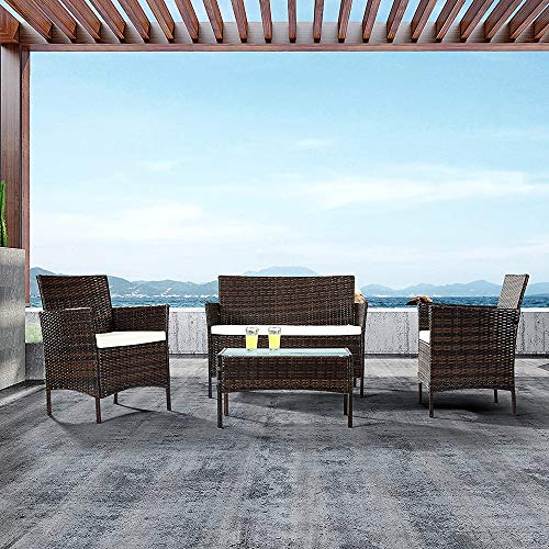 EBS My Furniture 4 Piece Rattan Garden Patio Outdoor Indoor Wicker Set White Cream Loveseat Sofa, 2 Chairs, Conservatory Glass Top Coffee Table - Brown