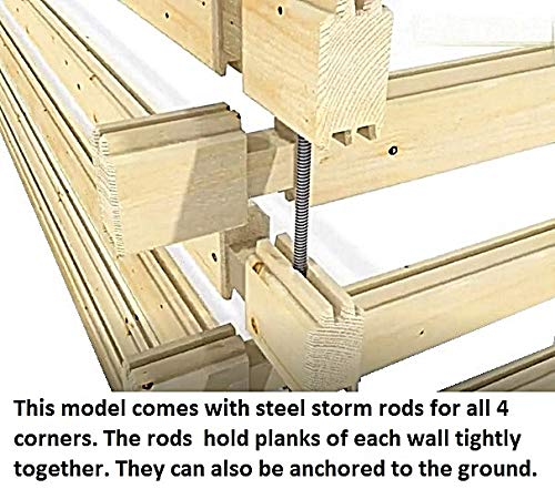 """Allwood timberline   483 sqf cabin kit 2 inside floor area: 354 sqf + loft 129 sqf wall thickness: 2-3/4"""" (70 mm) - dual t&g pattern   ridge height: 14'9"""" snow load capacity 46 lbs/sqf - for 70 lbs/sqf and 96 lbs/sqf values see asin:b07ty5msy8"""