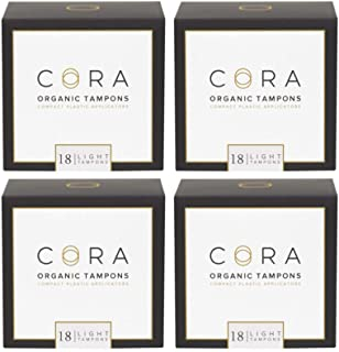 Cora Organic Cotton Tampons with BPA-Free Plastic Compact Applicator; Chlorine & Toxin Free - Light (72 Count) (Packaging May Vary)