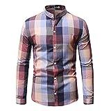 ERNUMK Camisa de hombre para el tiempo libre, Slim Fit, manga larga, patchwork, a cuadros, camisa de negocios, cuello alto, blusa cómoda, Rosa., XXL