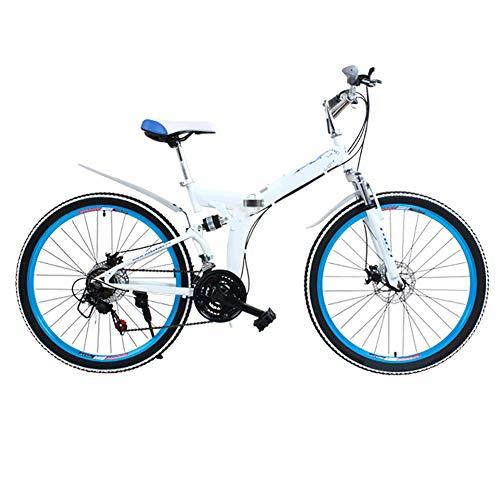 Mountain Bike Bicicleta para joven Las bicicletas MTB MTB adultos plegable camino de la bicicleta de los hombres de 24 velocidad 26 pulgadas llantas de las mujeres por ( Color : White , Size : 26in )