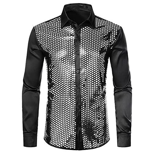 N\P Camisas de vestir de lentejuelas para hombre Camisa de manga larga para hombres Stage Dance Discoteca