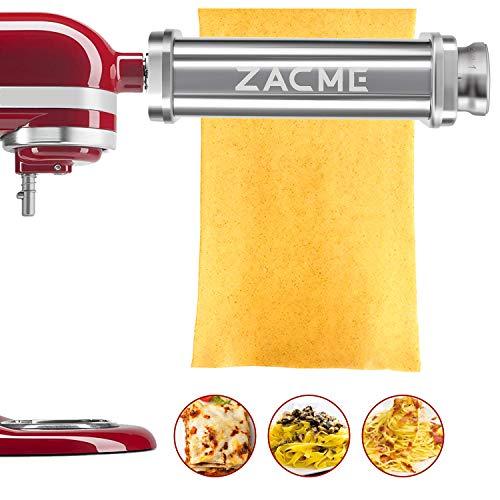 Rodillo de pasta para batidoras KitchenAid, rodillos de acero inoxidable lavables para pasta y máquina de fideos con cepillo de limpieza (plata)