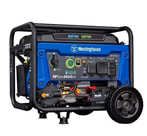 Westinghouse WGen3600DF Dual Fuel (Gas and Propane) Electric Start Portable Generator 3600 Rated...