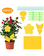 Bearbro 42PCS Geel Sticky Fly Traps, Vliegenpapier Stickers 20x15cm, Dual-Sided Sticky Traps, Fly Paper Stickers, Plant Fly Catchers, Catcher Sticky Board for Flying Plant Insect Aphids,etc