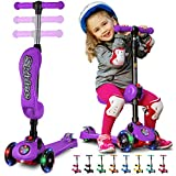 Y100 2-in-1 Scooter for Kids with Folding Removable Seat ZERO ASSEMBLY–Adjustable Height Kick Scooter for Toddlers Girls & Boys 2-12 Years-Old – Fun Outdoor Toys for Kids Fitness 3 LED Flashing Wheels