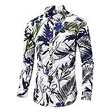 ERNUMK Camisa de cárdigan para hombre, ajustada, de manga larga, con estampado floral, para negocios, para hombre, C-blanco., XL